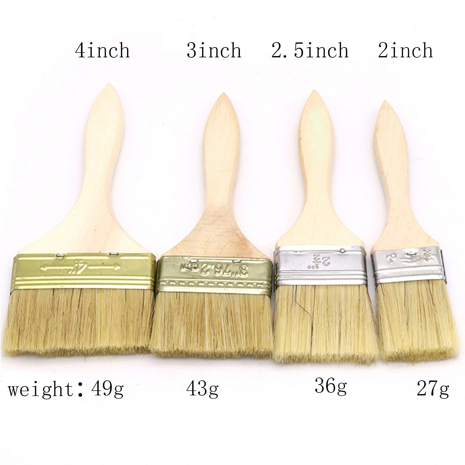 CONRUSER Paint Brushes Pure Bristle with Duty Wooden Handle, (4 Pack) 2 inch, 2.5 inch, 3 inch, 4 inch, for Paint, Stains, Varnishes, Glues, and Gesso by CONRUSER