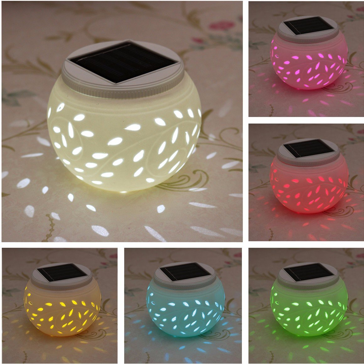 Ceramic Solar Light,SOLMORE LED Solar Table Lights Garden Lights Filigree Lights Solar Outdoor Lights Waterproof for Party Home Yard Patio Outdoor Indoor Decoration Night Lamp Color amp Color Changing