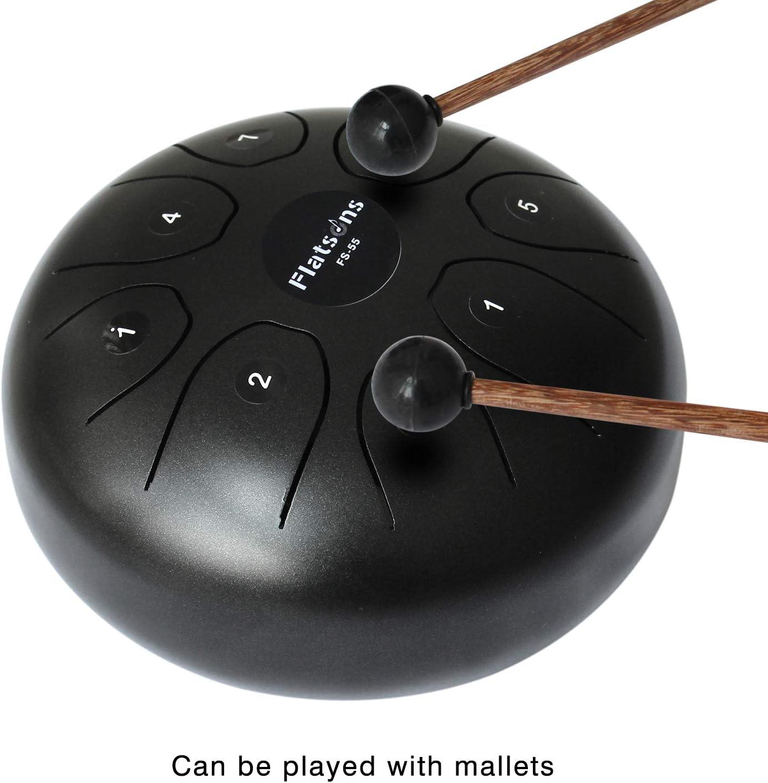 Flatsons Tambor de lengua de acero Tambor de tanque est/ándar C Key 8 notas 5.5 pulgadas Tambor de mano Instrumento de percusi/ón con mazos de tambor Bolsa de transporte Negro