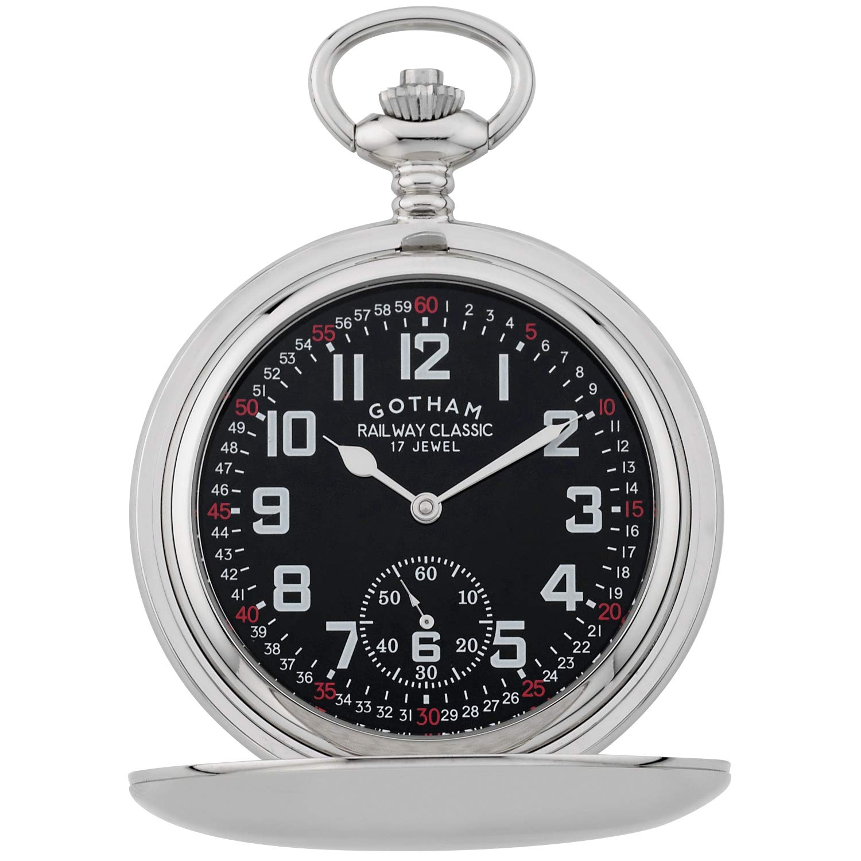 Gotham Men's Silver-Tone Railroad Dial Double Hunter 17 Jewel Mechanical Pocket Watch # GWC18806SB by Gotham (Image #1)