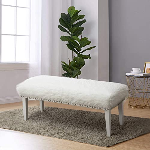 Upholstered Bed Bench White Faux Fur Bench Nailhead Ottomans Footstools Vanity Benches for Bedroom, Entryway and End of Bed, White Wooden Legs