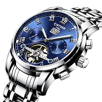 TIDOO Silver-Tone Stainless-Steel Automatic Mechanical Dark Light Wrist Watch for Mens Gifts
