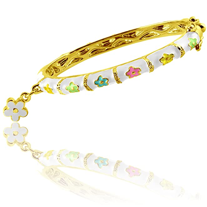 Flower Bracelet for Girls Charm Bracelet | Bangle Bracelets for Kids | Adorable Dangle Flower Charm, Hinged Lock