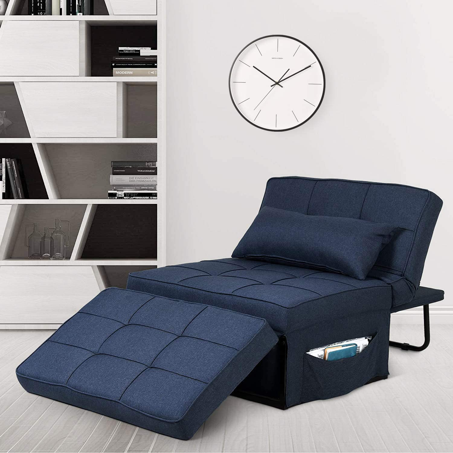 Saemoza Sofa Bed, 4 in 1 Multi Function Folding Ottoman Sleeper Bed with Storage Bag, Modern Convertible Chair Adjustable Backrest Sleeper Couch Bed for Living Room/Small Apartment, Navy Blue