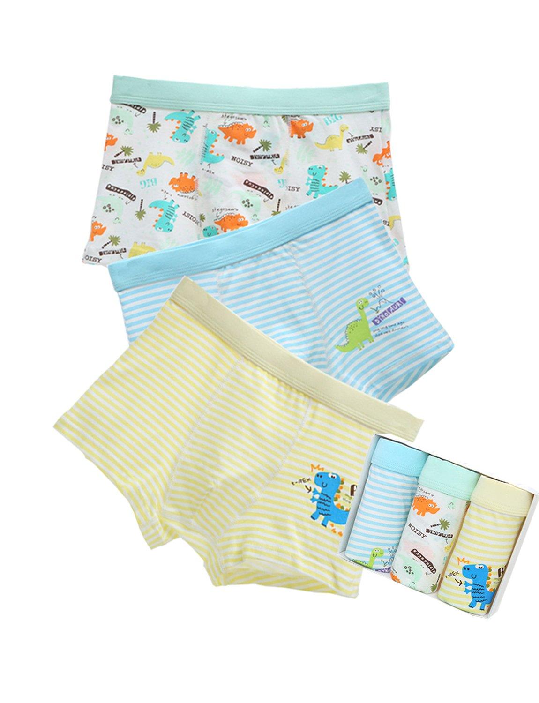 BYXKIDS 3 Pack Boys Cute Cotton Boxer Briefs Kids Toddler Underwear(2-7 Years)
