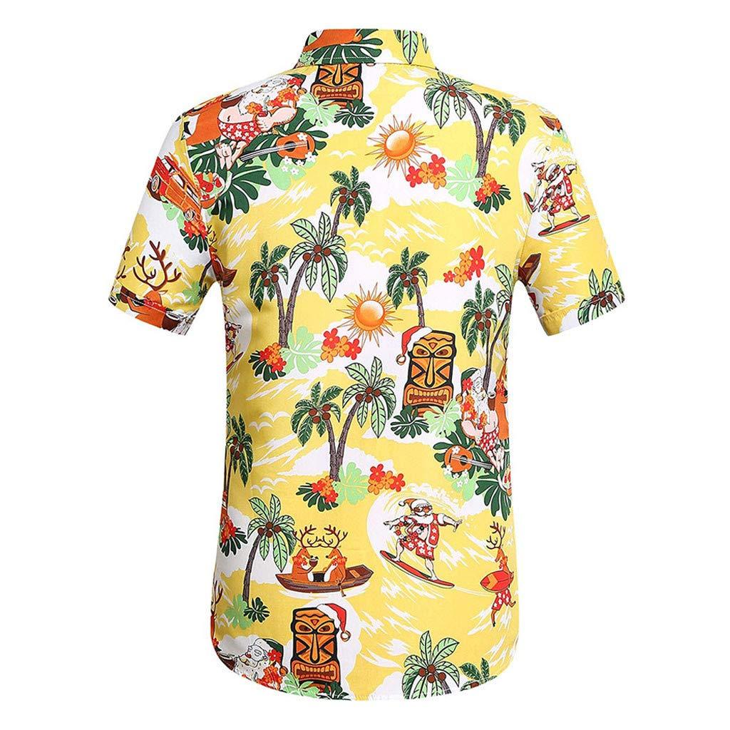 Fannyfuny camiseta Hombres Verano Original B/ásica de Manga Corta Camisetas Hombre Baratas Ropa Gym Hombre Original King Funky Camisa Hawaiana Bolsillo Delantero Impresi/ón de Hawaii