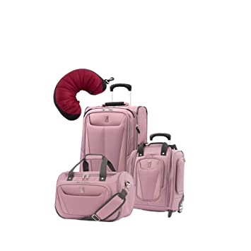 0933c7e04 Amazon.com | Travelpro Maxlite 5 | 4-PC Set | Soft Tote, Underseater &  Int'l Carry-On Rollaboard with Travel Pillow (Dusty Rose) | Luggage &  Travel Gear