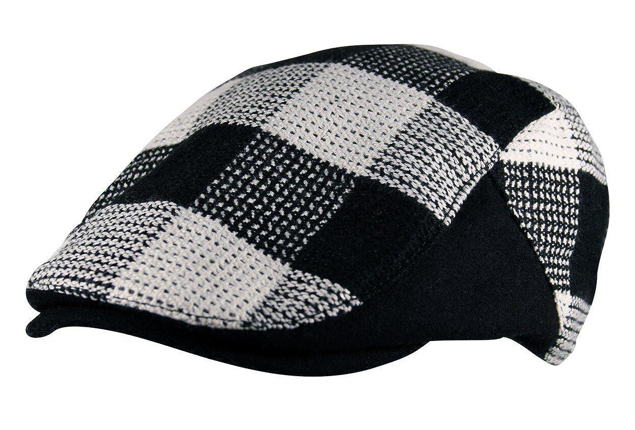 92cd9ac3f1c Itzu Mens Wool Mix Lumberjack Check Flat Cap Hat Curved Gatsby Golf Black  White  Amazon.co.uk  Clothing