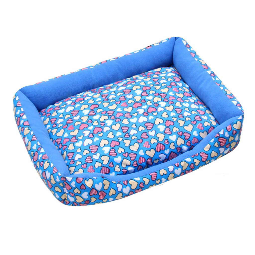 bluee Large bluee Large BEDS Dogs Furniture Washable kennel Four seasons universal cat litter Small dog supplies Dog Teddy mat (color   bluee, Size   L)