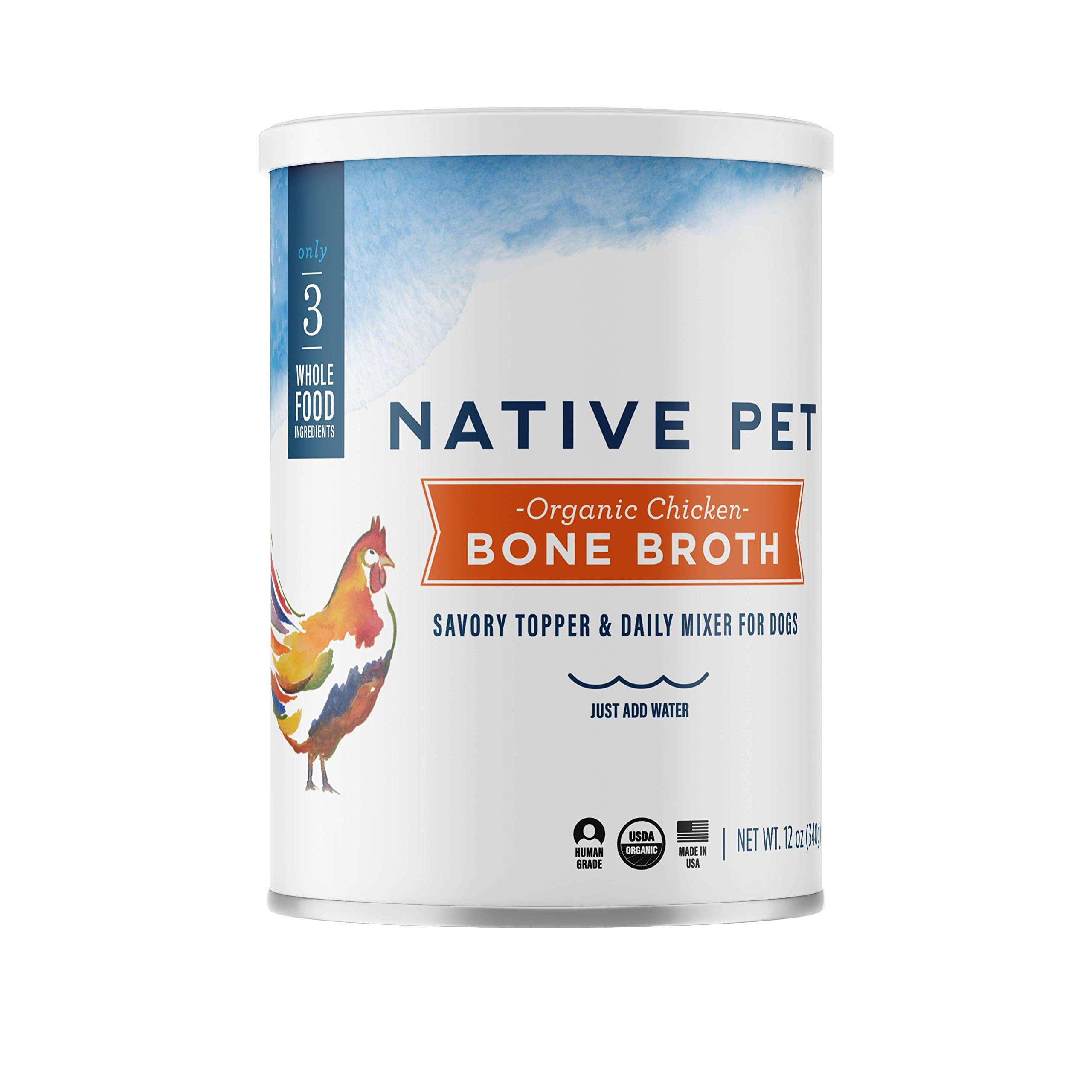 Native Pet Organic Bone Broth for Dogs and Cats - Human Grade Protein Powder & Rich Source of Collagen for Dogs - Food Mixer and Topper with Chicken and Sweet Potato