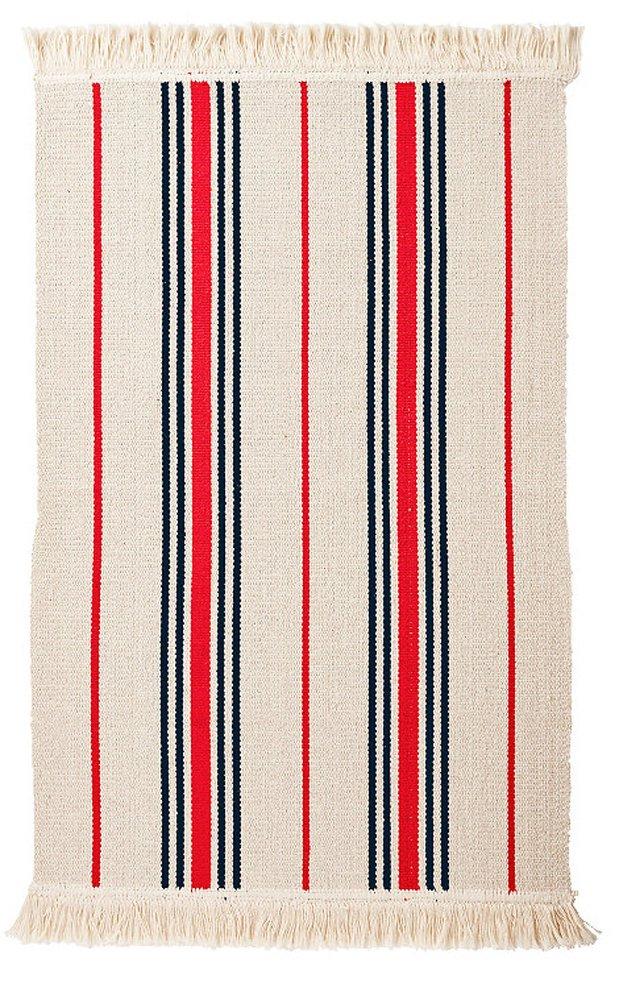 Ikea Flatwoven Area Kitchen Rug Stripes Cotton Red Black Throw Mat