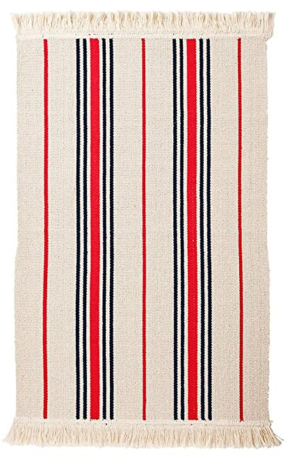 Ikea Flatwoven Area Kitchen Rug Stripes Cotton Red Black Throw Mat
