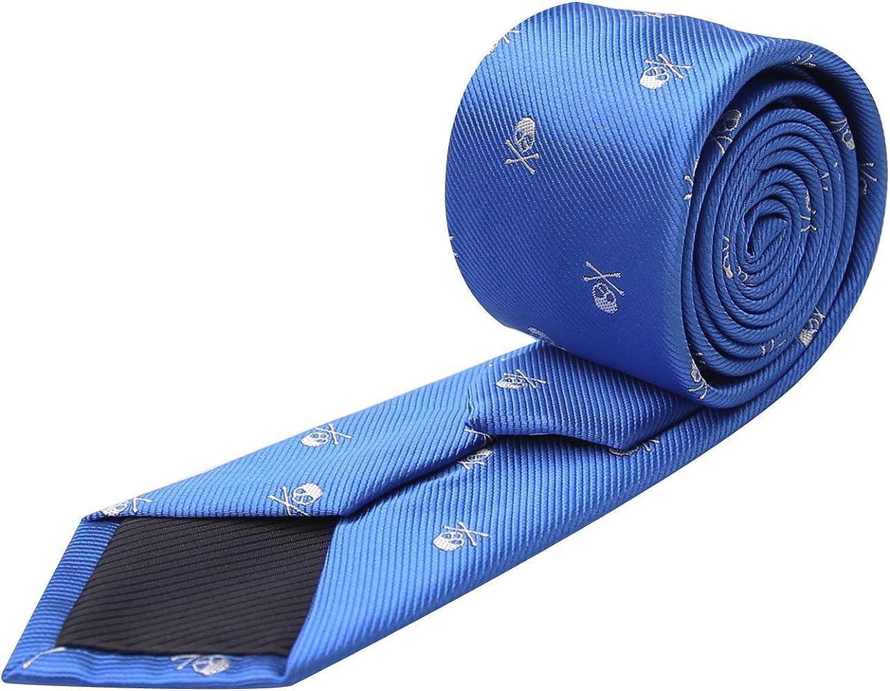 Alizeal Calavera–Corbata Estrecha para Hombre (Azul Klein): Amazon.es: Ropa y accesorios
