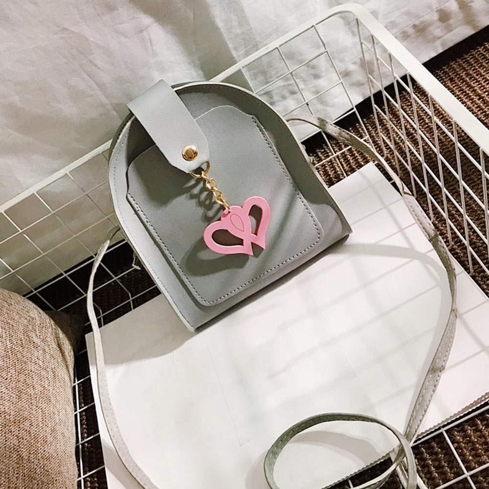 lecimo Mini Bag PU Retro Peach Heart Bag Fashion Semi-circle Shoulder Messenger Bag Purse,2#