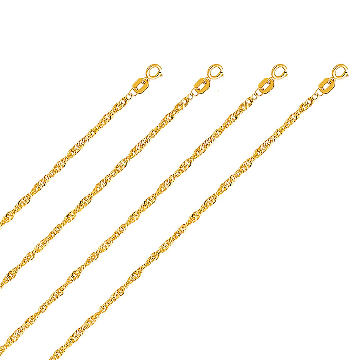 14k Yellow Gold 2.1mm Hollow Singapore Chain with Spring Ring Clasp