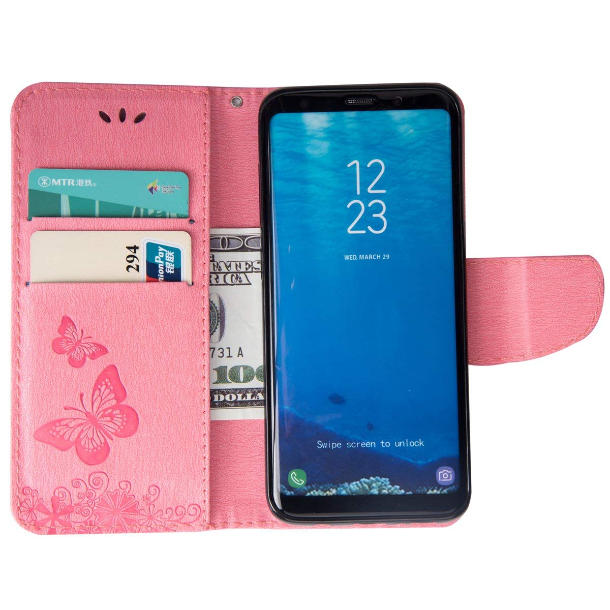 Felfy Kompatibel mit Galaxy J4 Plus H/ülle Grau,Kompatibel mit Galaxy J4 Handyh/ülle Glitzer Diamant Strass Schmetterling Muster Schutzh/ülle PU Leder Tasche Flip Cover Case mit Kartenfach