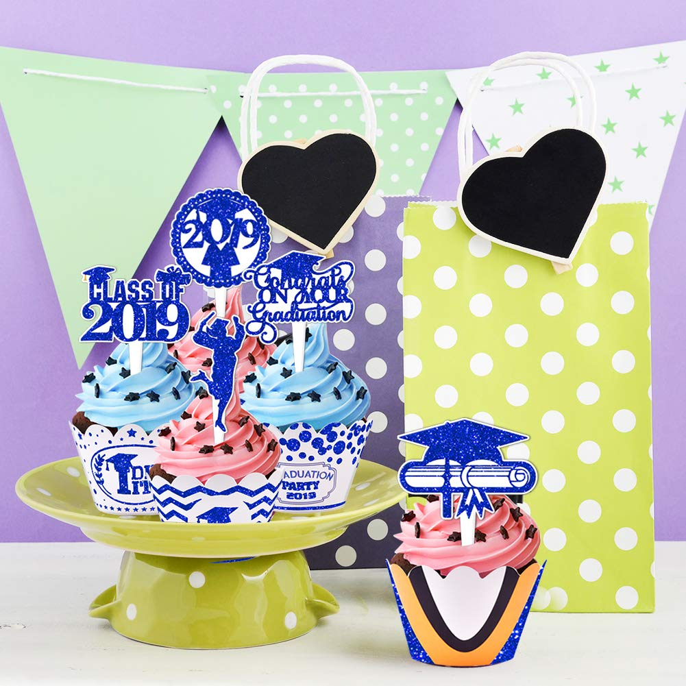 2019 Graduation Cupcake Wrappers and Toppers -Graduation Party Decoration,32 Piece Glitter Blue Cupcake Toppers For Class Of 2019 Congrats Grad Party Birthday Party Supplies Favor by Threemart (Image #7)