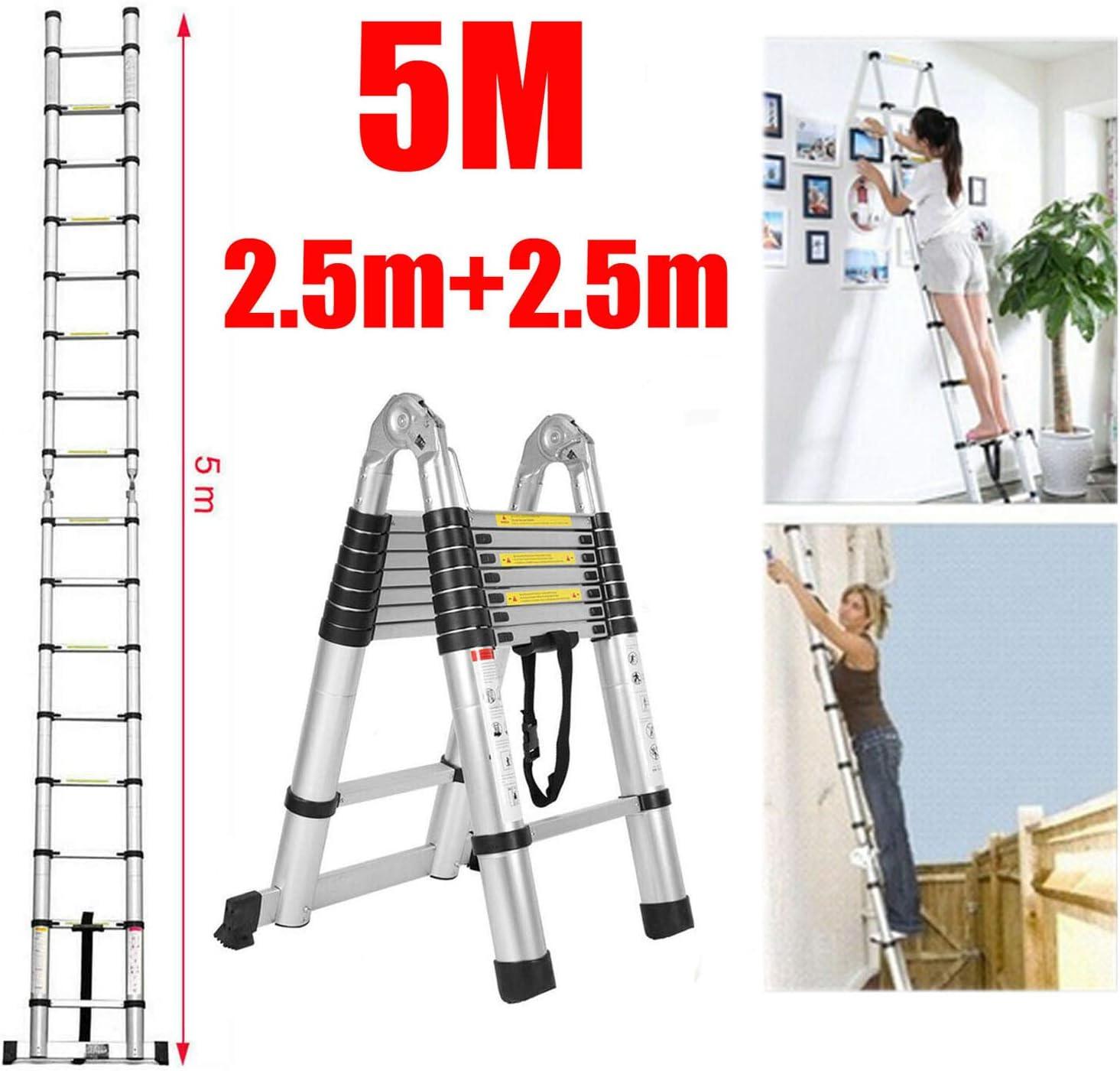 Escalera telescópica de 5 m, de aluminio resistente, multiusos, portátil, tipo A y recta, con bloqueo de seguridad antideslizante, plegable, retráctil, escalera telescópica, 150 kg de carga máxima: Amazon.es: Bricolaje y herramientas