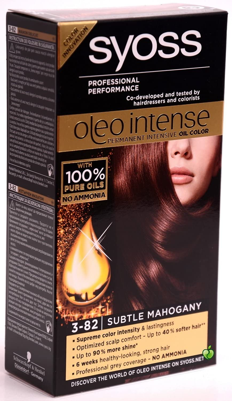 Syoss Oleo Intense Tinte para el cabello 100% aceites puros, 0% amoníaco 3-82, caoba sutil