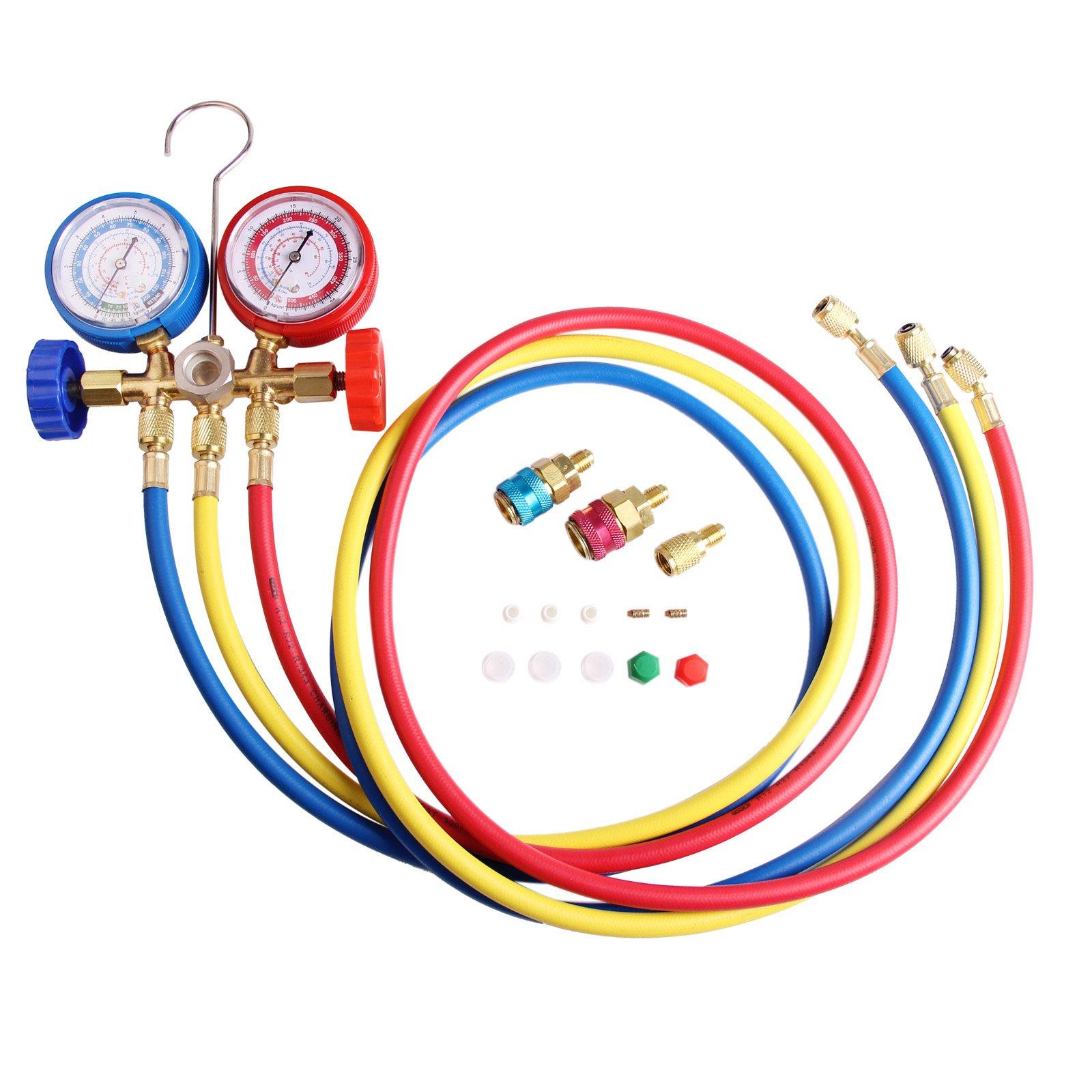 AURELIO TECH MGS-0005-WZ Blue & Red 5FT R134a R12 R22 R502 HVAC A/C Diagnostic Manifold Gauge Refrigeration Charging System