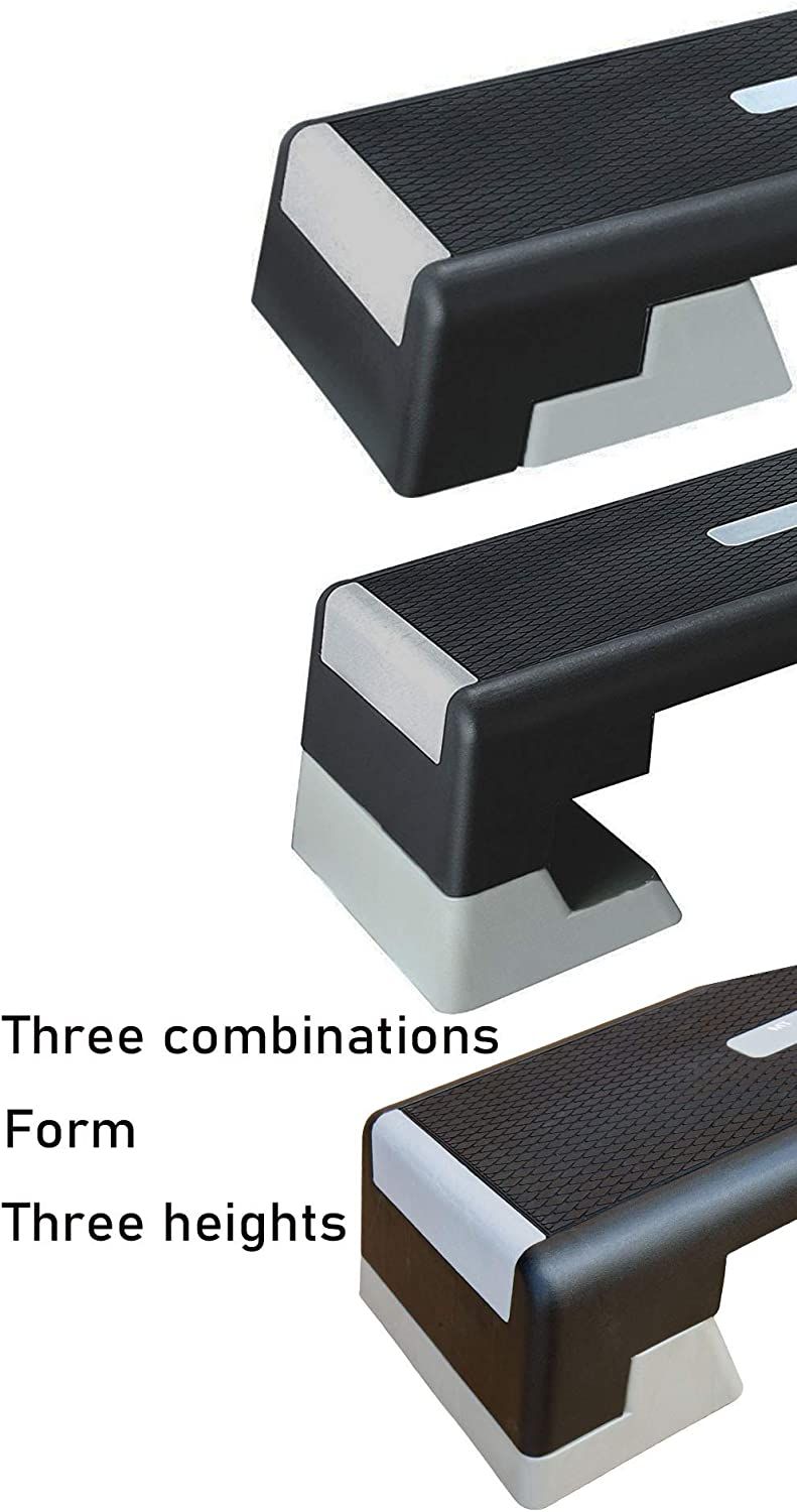HooKung 39 Professional Fitness Aerobic Stepper Adjustable from 6 to 8 to 10 Exercise Step Platform w// 2 Risers
