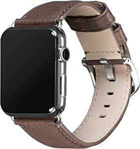 Sena Heritage Leather Watch Band for Apple Watch Compatible with 42mm - Modern, Timeless and Dapper, Grey