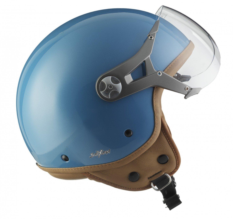 SOXON SP-325-MONO Red /· Bobber Helmet Moto Demi-Jet Retro Pilot Scooter Casque Jet Vintage Cruiser Vespa Biker Mofa Chopper /· ECE certifi/és /· visi/ère inclus /· y compris le sac de casque /· Rouge /· M 5