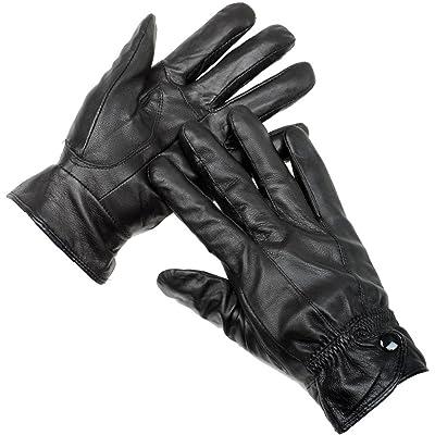 Boîte de couture pour femmes en cuir noir clouté-Gants avec doublure en polaire et poignets
