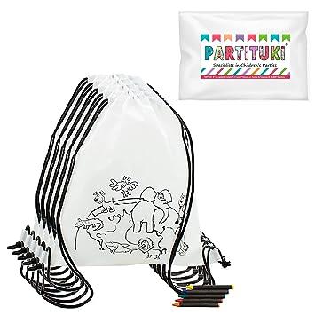 Partituki Lote de 5 Mochilas Infantiles para Colorear. Incluye Ceras de Colores. Ideal para Regalos de Fiestas de Cumpleaños Infantiles, Comuniones.