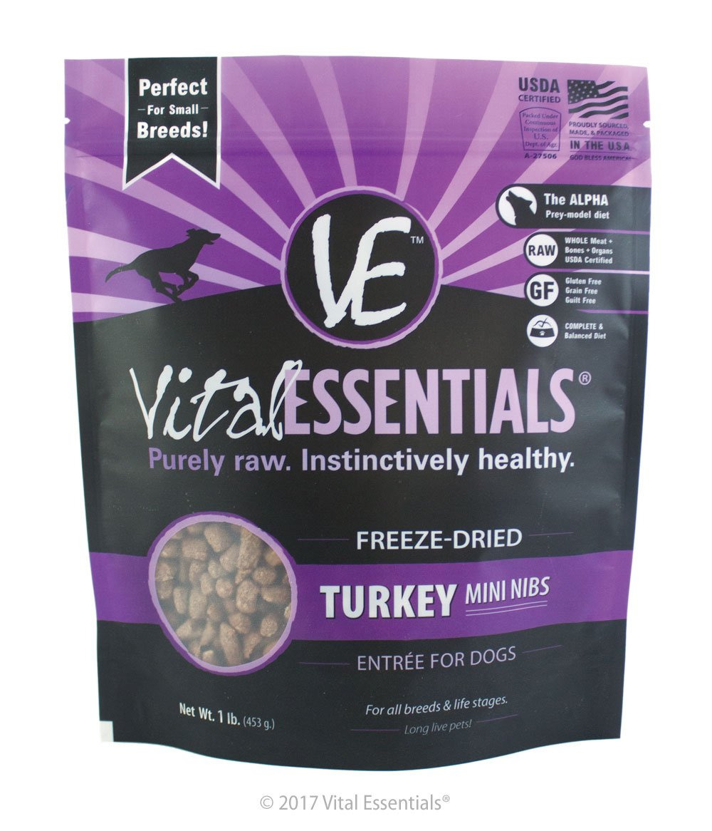 Vital Essentials Freeze-Dried Turkey Mini Nibs Grain Free Limited Ingredient Dog Entrée, 1 Pound Bag