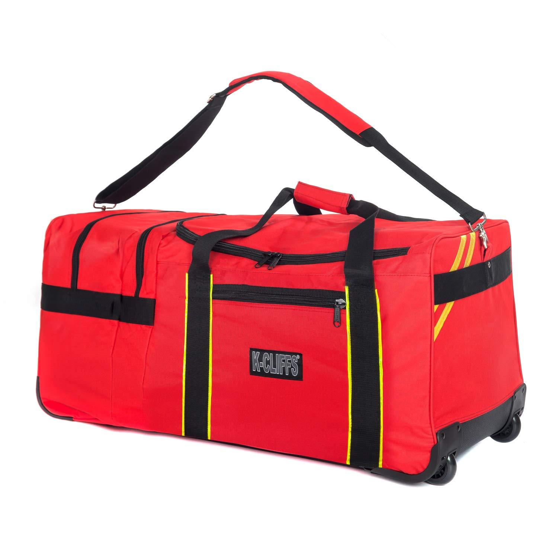 Rolling Firefighter Gear Bag Fireman Equipment Duffel with Wheels Paramedic Wheeled Travel Bags Helmet Pocket