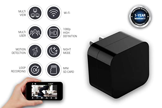 Amazon.com : Spy Camera Wireless Hidden USB Wall Charger Surveillance Nanny cam for Home Security - Camaras Espias Ocultas Camara Espia con WiFi - 1080P ...