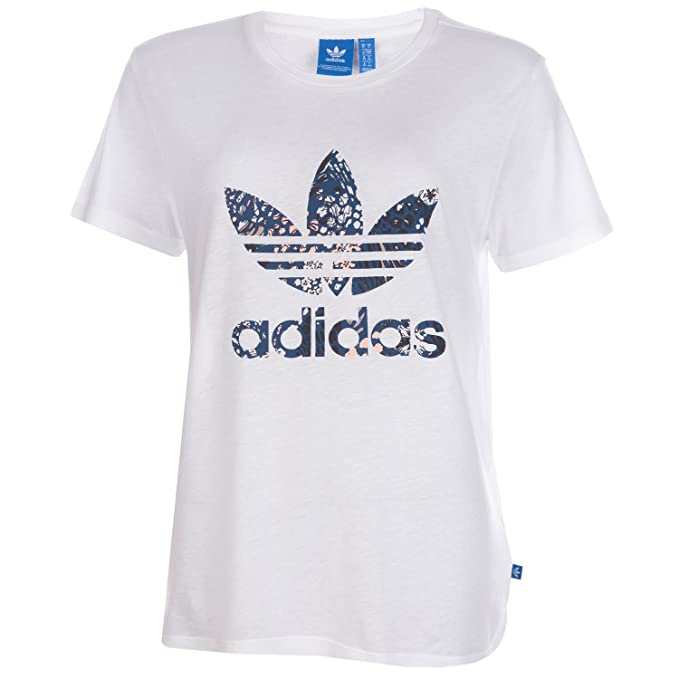 adidas Mujer Trefoil Boyfriend Camisetas Blanco, 40