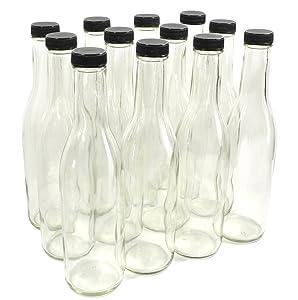 Clear Glass Woozy Bottles, 12 Oz - Case of 12