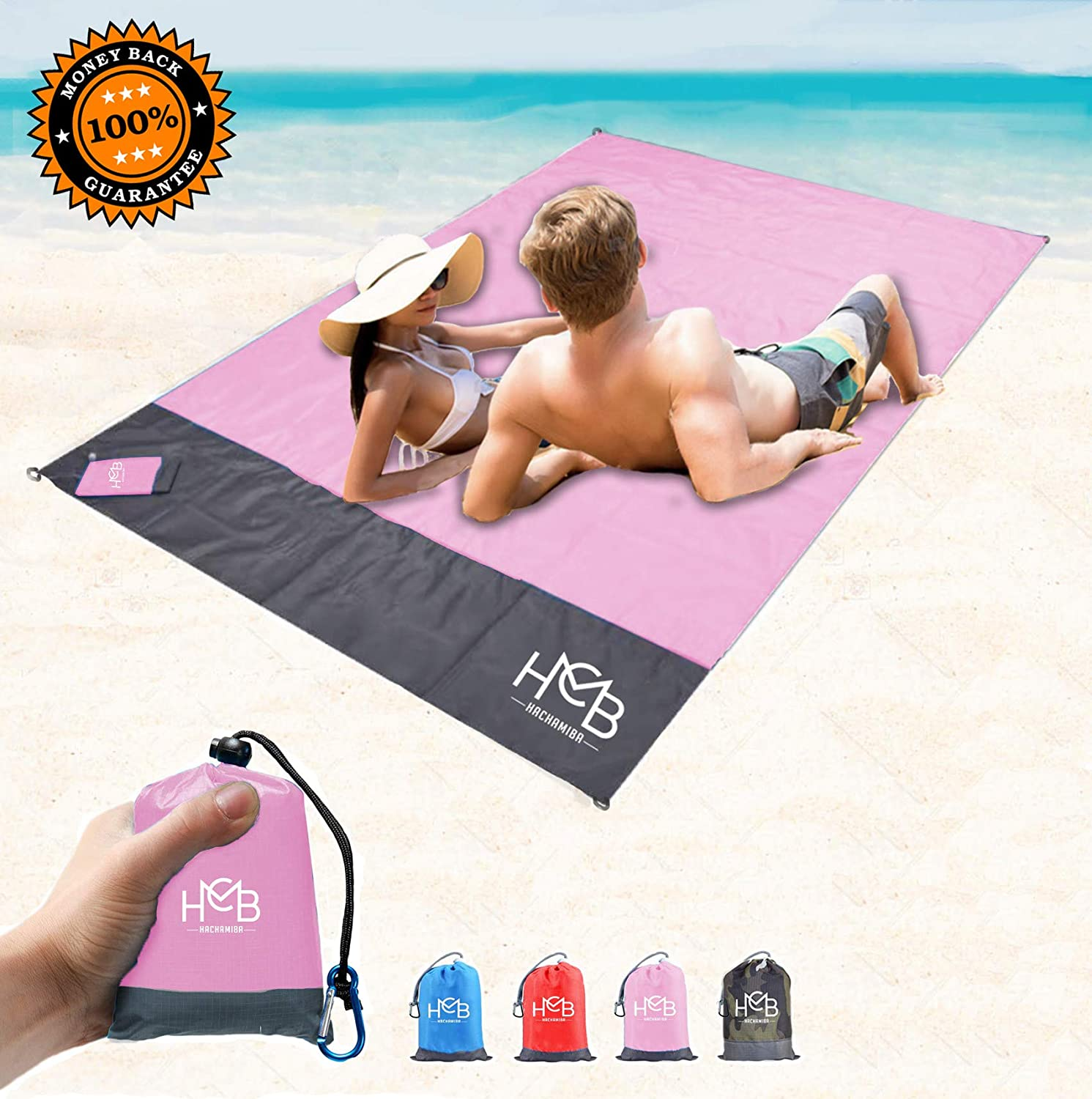 Fit 2 to 4 Persons Hachamiba Compact Outdoor Beach Blanket Pocket Lightweight Picnic Tent Footprint Mat Include 4 Stakes /& Carabiner 100/% Sand Free Waterproof Ground Cover 79/″x55/″