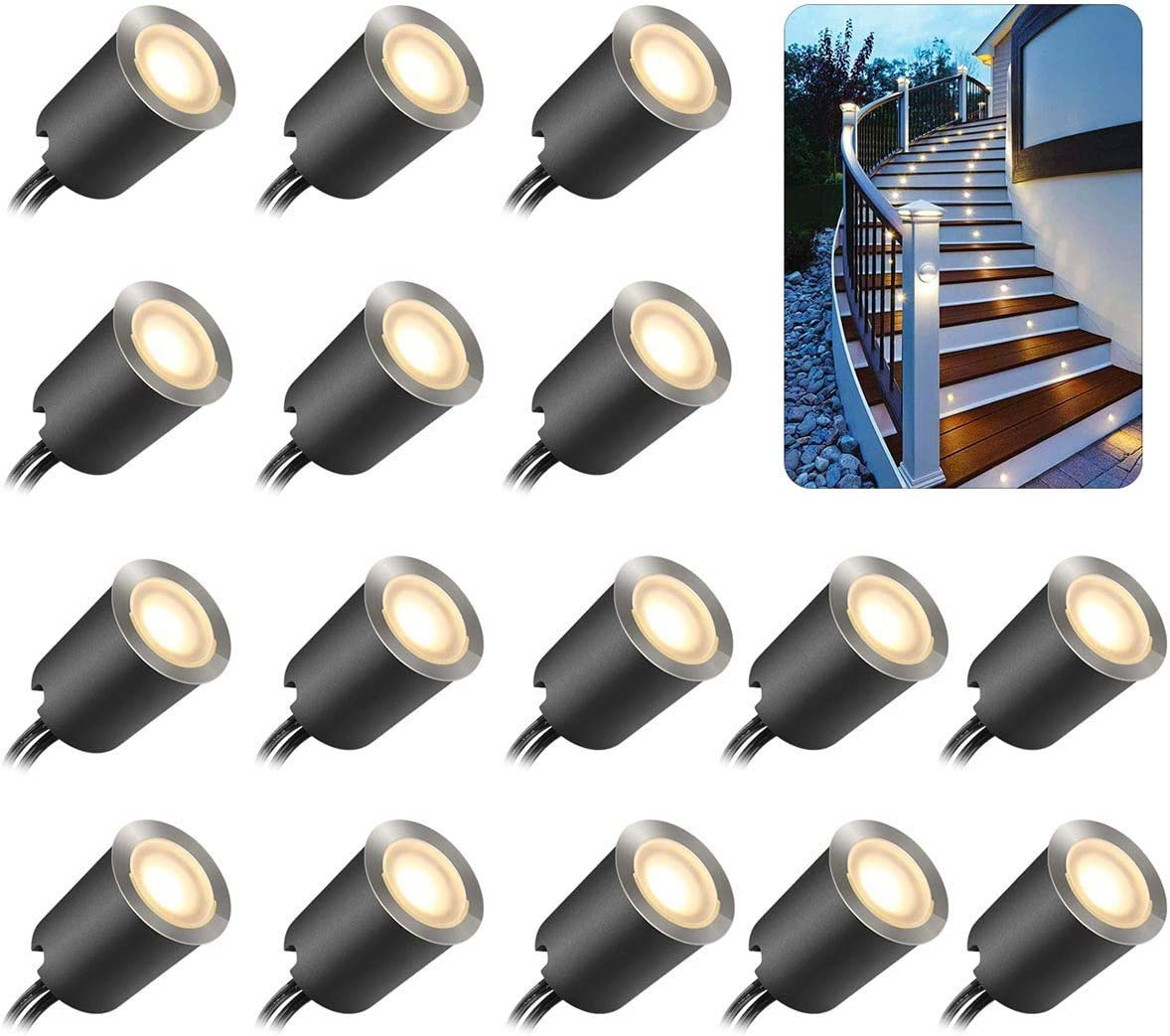 Recessed LED Deck Light Kits with Protecting Shell 32mm,SMY In Ground Outdoor LED Landscape Lighting IP67 Waterproof,12V Low Voltage for Garden,Yard Steps,Stair,Patio,Floor,Kitchen Decoration