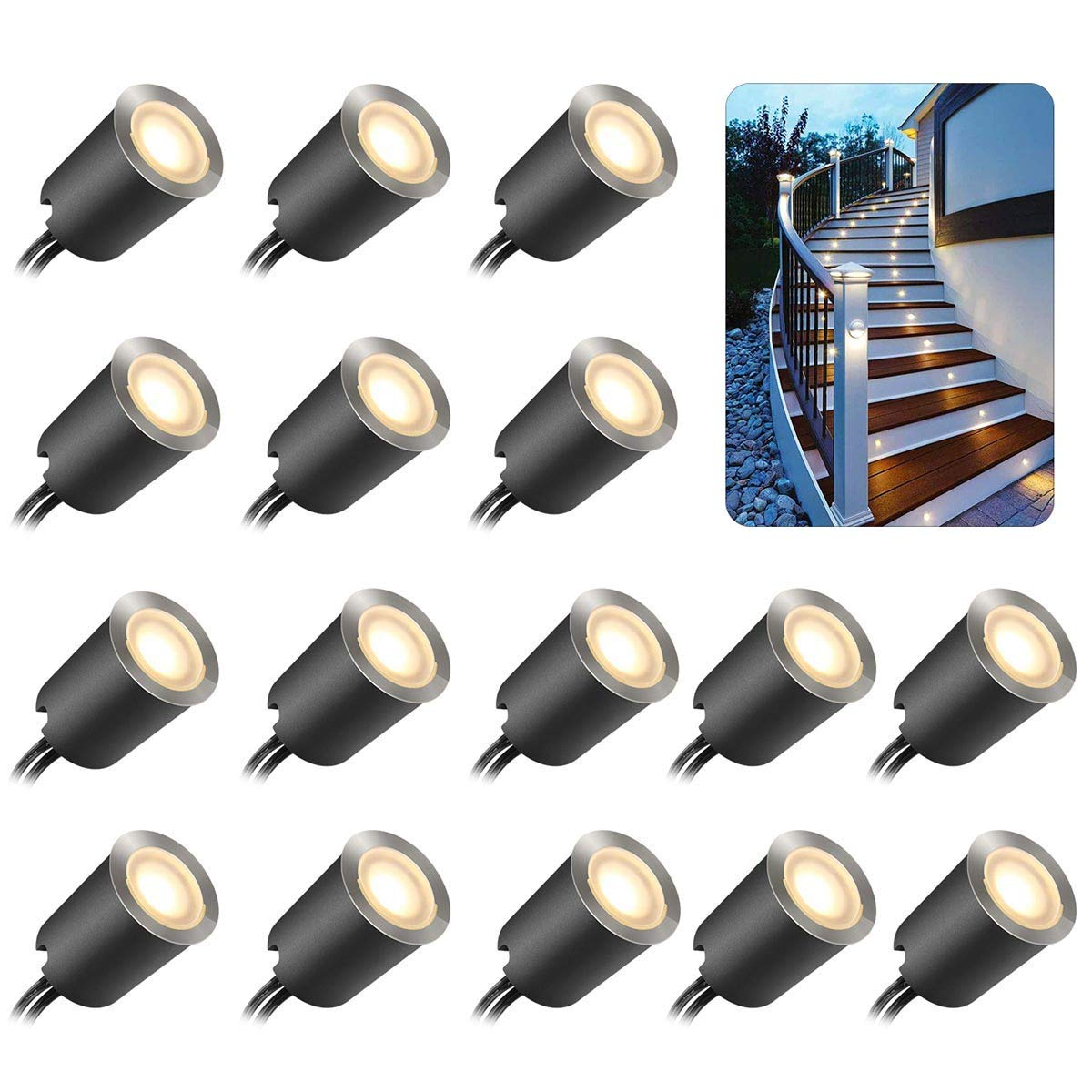 Recessed LED Deck Light Kits with Protecting Shell φ32mm,SMY In Ground Outdoor LED Landscape Lighting IP67 Waterproof,12V Low Voltage for Garden,Yard Steps,Stair,Patio,Floor,Kitchen Decoration by SMY Lighting