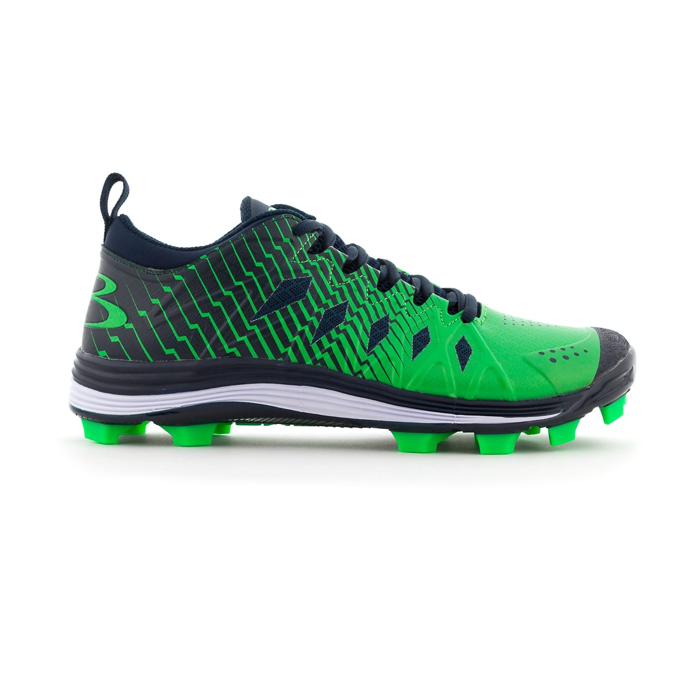 Boombah Men's Squadron Molded Cleats - 8 Color Options - Multiple Sizes B079V14SSJ 5.5|Navy/Lime Green