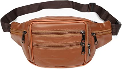 FANNING511 Waist Pack Cowhide Leather Large Size 7 Pockets Fanny Pack Black