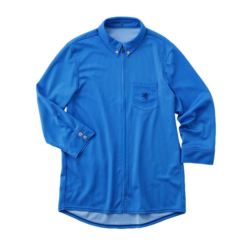 KAPELMUUR(カペルミュール) クロップドシャツジャージ ペンシルストライプ ブルー XS  B07NDZYBXZ