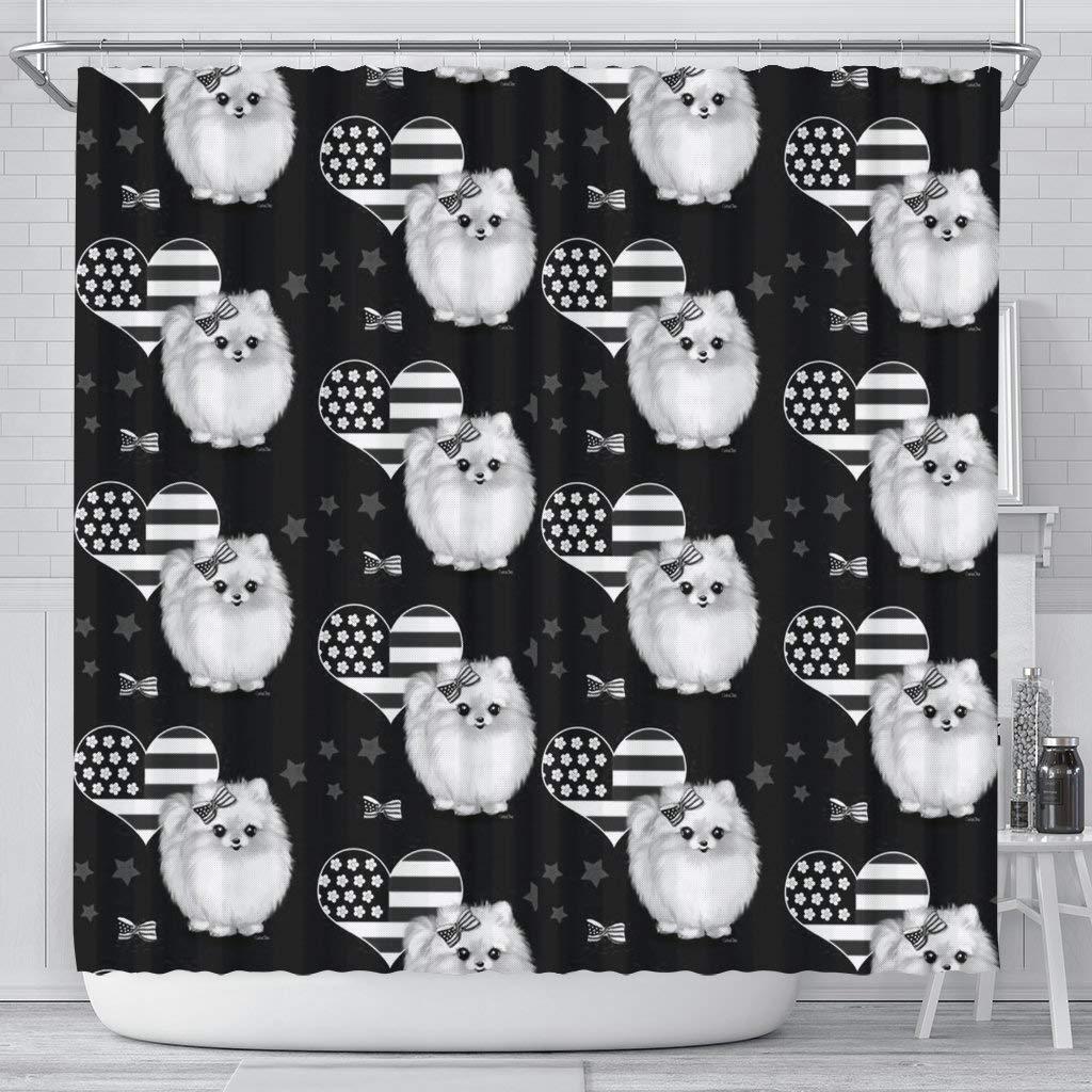 Breedink Pomeranian Dog Patterns Print Shower Curtain
