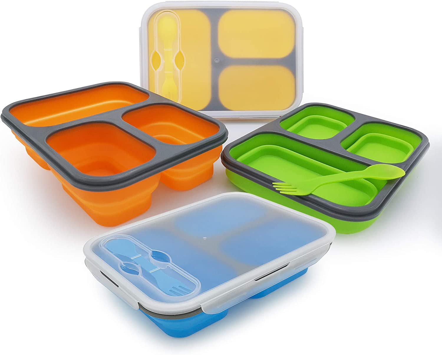 Exclusivo Bolsillo Bento Lunch Box for Women Men & Kids With Spoon & Fork,BPA Free,Collapsible and Leakproof Food Grade Silicone Food Storage Containers with 3 Compartments (4 Color Pack)