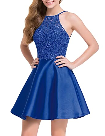 2f3860f8f7 Aurora Bridal Women s Halter Open Back Homecoming Dresses Short 2018 Lace  Appliques Prom Gown AH028 at Amazon Women s Clothing store