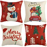 WLNUI Set of 4 Christmas Pillow Covers 18x18 Merry Xmas Snowman Christmas Tree Hat Holiday Decorative Throw Pillow…