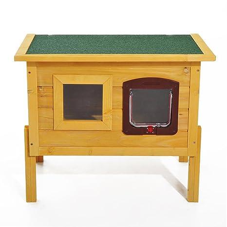 PawHut - Caseta para mascotas de madera de abeto, 70 x 51,5 x