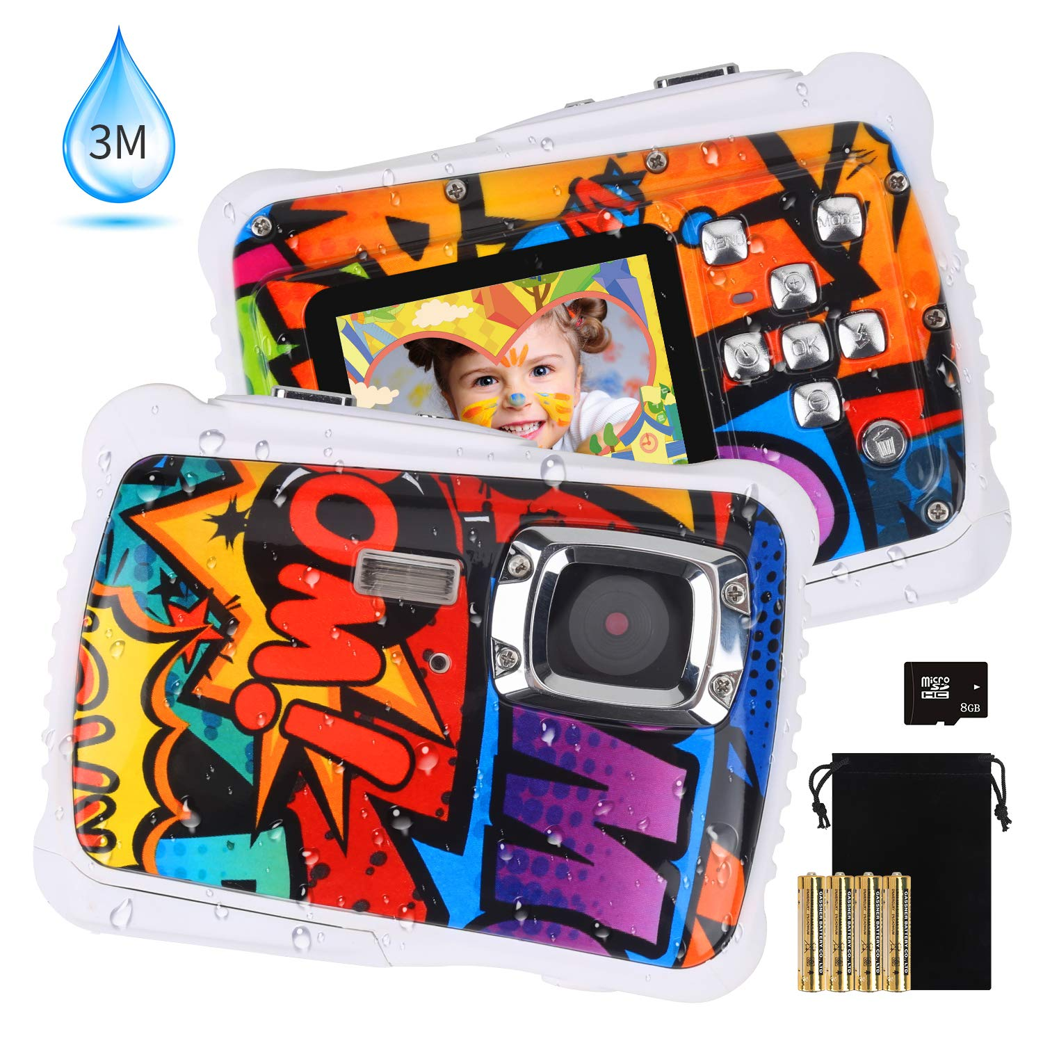 [2019 Newest Kids Camera] Kids Waterproof Camera, DECOMEN Digital Underwater Camera for Boys and Girls, 12MP HD Action Sport Camcorder with 2.0'' LCD, 8X Digital Zoom, Flash, Mic and 8G SD Card. by DECOMEN