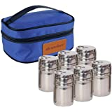 Portable Stainless Steel Spice Shaker Seasoning Dispenser - 6 Pc Set with Rotating Lids and Travel Bag| Spice Jars…