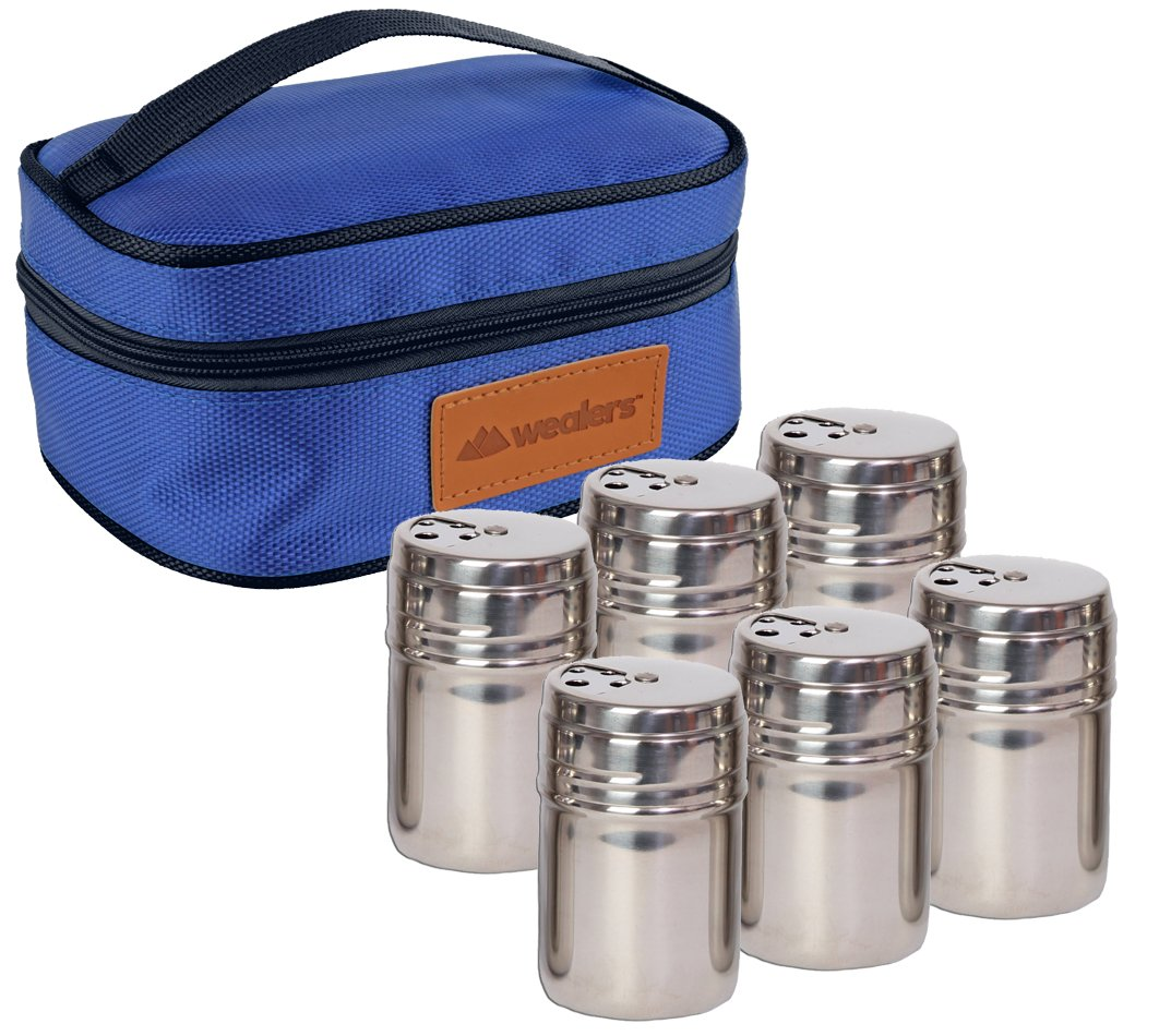 Portable Stainless Steel Spice Shaker Seasoning Dispenser - 6 Pc Set with Rotating Lids and Travel Bag| Spice Jars - Salt and Pepper Shakers - Dry Herb Spice Condiment Dispenser |Camping|Hiking|BBQ Wealers