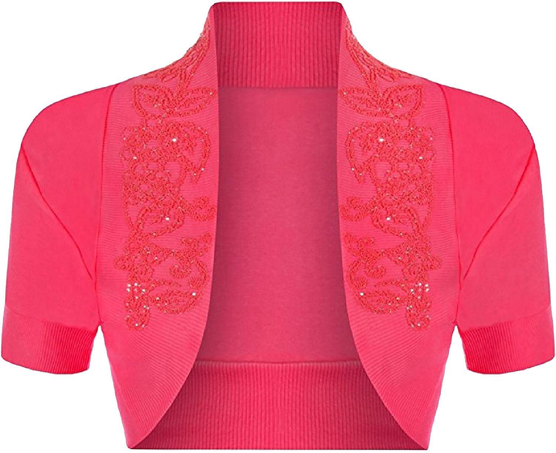 M L Islander Fashions Womens Beaded Bolero Crop Open Shrug Ladies Manica Corta Fancy Cardigan Top S