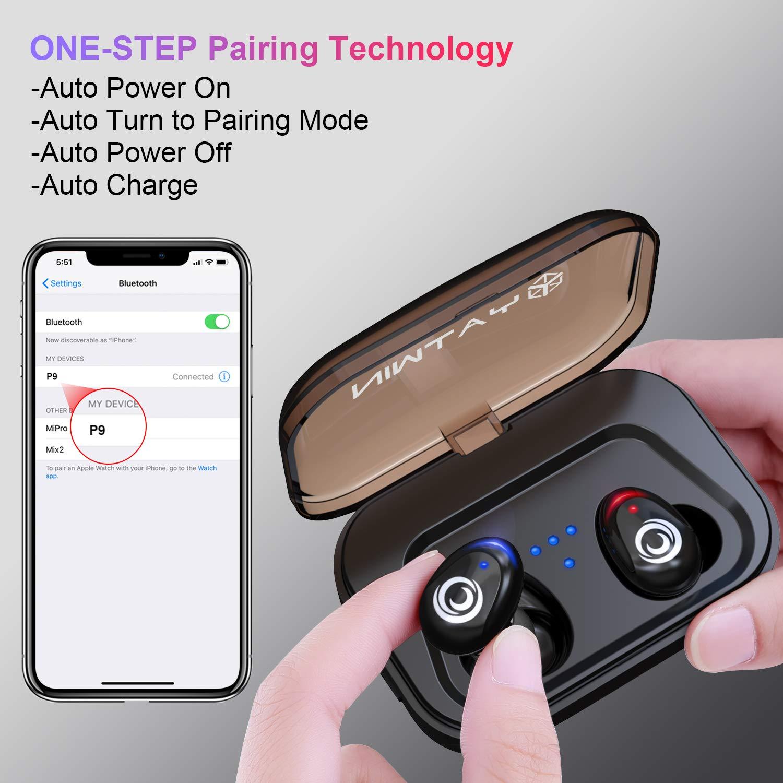 F/ür alle Bluetooth-Ger/äte Neueste Bluetooth Kopfh/örer Kabellos In Ear YATWIN Sport Wireless Ohrh/örer mit Portable Ladebox 3000 mAh,135 Stunden Spielzeit IPX5 Wasserdicht